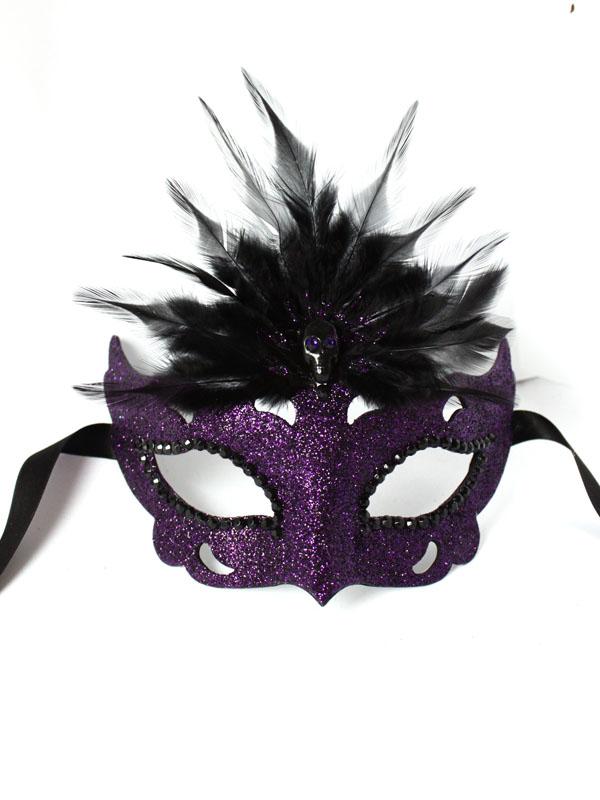 Gothic Raven Purple & Black beaded Venetian Mask