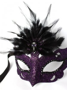 Purple & Black Gothic Skull Halloween Masquerade Mask