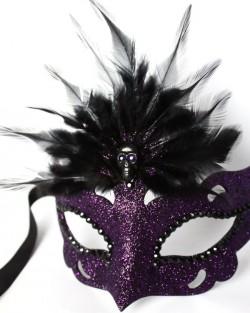 Raven puple & black Gothic Skull Venetian Masquerade Mask fs