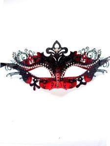 Red & Black Metal Filigree Venetian Mask b