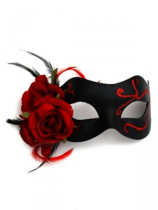 Red & Black Gothic Rose Halloween Masquerade Mask