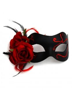 Red & Black Gothic Rose Venetian Mask