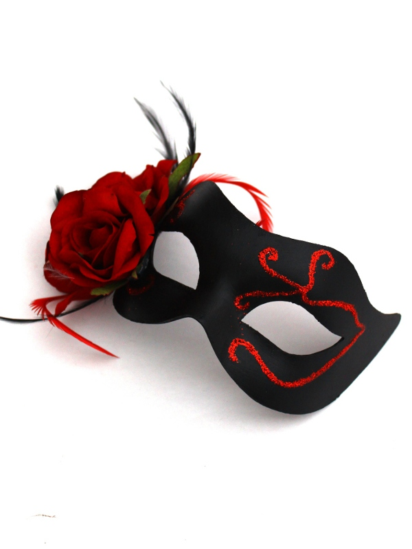 Women's Beautiful Gothic Black & Red Rose Venetian Mask
