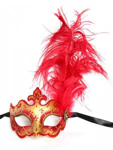 Serafina Red & Gold Venetian Feather Masquerade Mask