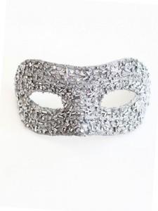 Silver Swarovski Petite Venetian Jewelled Beaded Masquerade Prom Mask