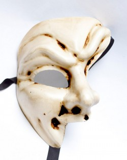 Cream Half Devil Joker Phantom Venetian Masquerade Mask
