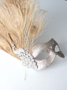champagne gold beige silver peacock prom mask