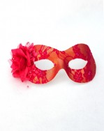 Amelie Pink & Gold Lace Masquerade Mask