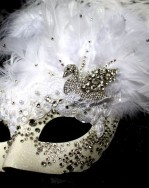 Beautiful Luxury Swarovski Crystal White Swan Venetian Masquerade Mask c