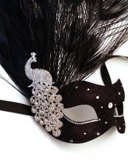 Black & Gold Monsoon Peacock Swarovski Crystal Venetian Masquerade Mask