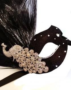 Black & Silver Monsoon Peacock Swarovski Crystal Venetian Masquerade Masks