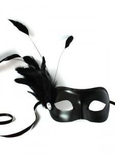 Edina Petite Black Venetian Masquerade Mask with feathers