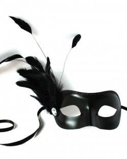 Edina Petite Black Venetian Masquerade Mask with feathers
