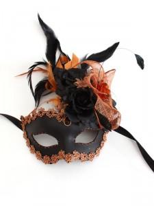 Bronze & Black Unique Floral Venetian Masquerade Mask