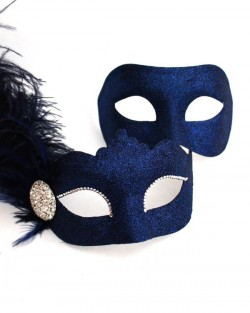 Couple's Navy Blue Venetian Feather Masquerade Masks b