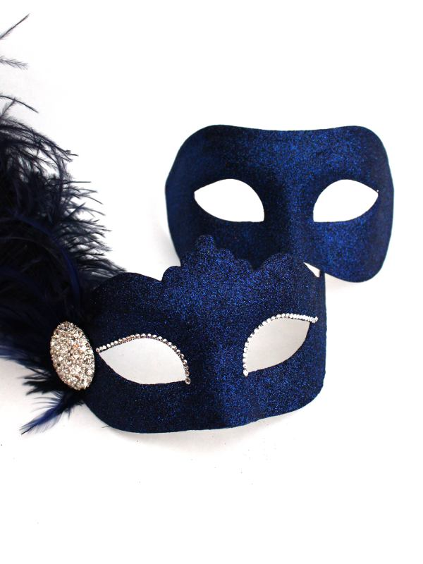 Couple S Navy Blue Crystal Venetian Masquerade Masks