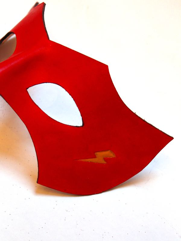 red genuine leather  u0026 39 flash u0026 39  style superhero eye mask