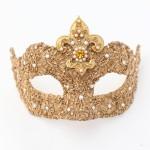 Fleur De Lys Baroque Gold & Pearl Venetian Masquerade Mask f