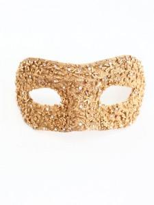 Gold Swarovski Petite Venetian Jewelled Beaded Masquerade Mask 1s