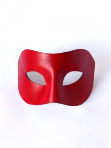 Handcrafted Red Leather Columbina Venetian Masquerade Mask