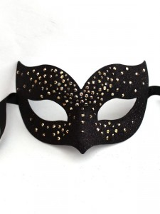 Luxury Metallic Bronze & Black Swarovski Crystal Bird Venetian Masquerade Mask