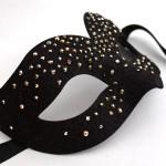 Luxury Metallic Bronze & Black Swarovski Crystal Bird Venetian Masquerade Masks