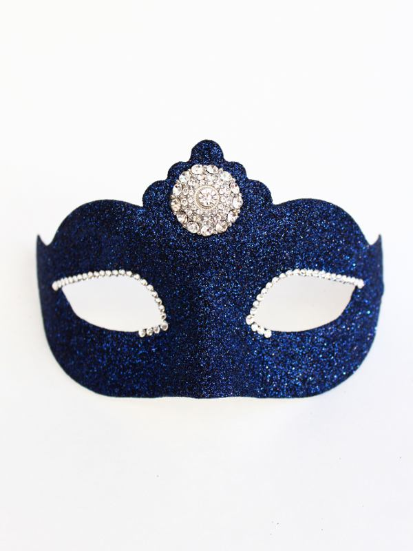 petite navy blue prom mask