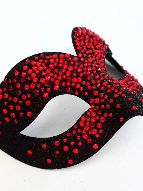 Women's Luxury Black & Red Swarovski Crystal Bird Mask