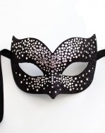 Luxury Silver & Black Swarovski Crystal Bird Venetian Masquerade Mask