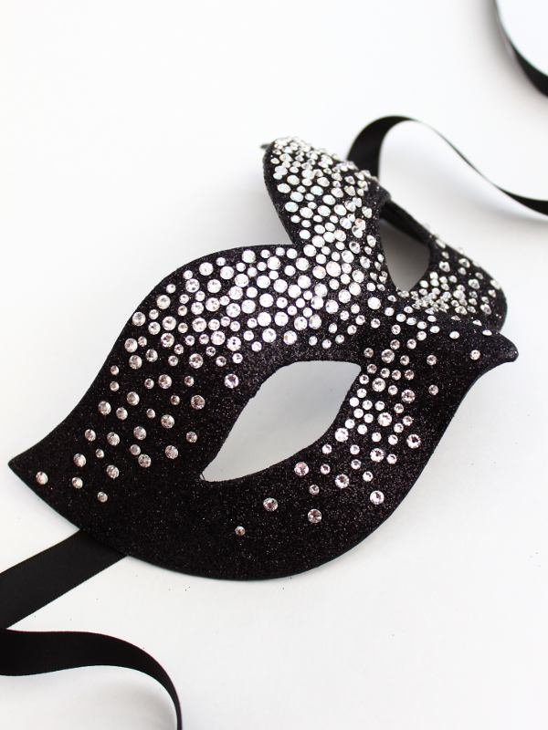 luxury black silver swarovski crystal bird mask