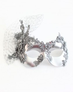 Luxury Silver Lace & Net Masquerade Eye Mask