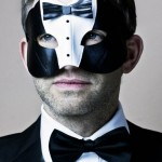Men's James Bond Black Tuxedo Suit Leather Masquerade Mask