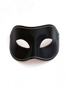 themed_masked_ball_ideas_Men's Black & White Leather Handstitched Leather Venetian Masquerade Mask