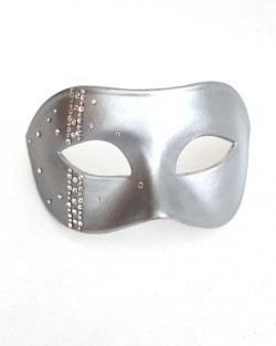 Men's Luxury All Silver Venetian Masquerade Mask with Swarovski Crystals s
