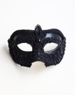 Men's Luxury Ornate Black Embellished Lace Venetian Mask