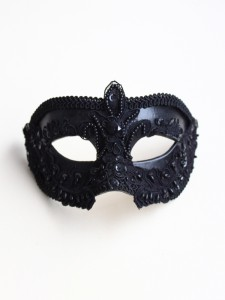 Men's Luxury Ornate Black Embellished Lace Venetian Mask