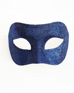 Men's Navy Blue Sparkle Venetian Masquerade Mask