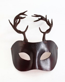 Men's Stag Brown Leather Horned Masquerade Mask