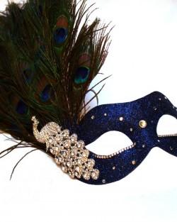 Monsoon Navy Blue & Silver Peacock Crystal Venetian Masquerade Mask c