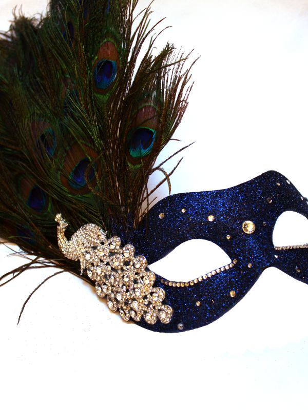 Luxury Blue Amp Silver Peacock Feather Venetian Mask