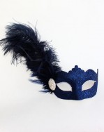 Navy Blue Feather Diamante Venetian Masquerade Mask