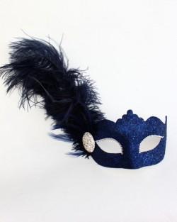 Navy Blue Feather Diamante Venetian Masquerade Mask