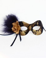 Navy Blue & Gold Lace Masquerade Eye Mask