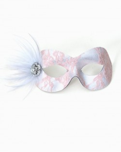 Nude Pink & Silver Lace Eye Masquerade Mask