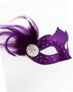 Samara Purple Swarovski Crystal Venetian Masquerade Mask