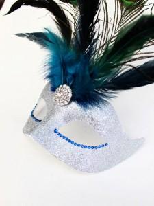 Silver Venetian Peacock Feather Swarovski Crystal Masquerade Mask s