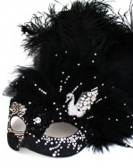 Unique Luxury Swarovski Crystal Black Swan Venetian Masquerade Mask c