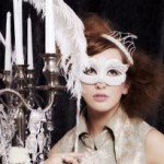 Custom Made Bridal Stick Venetian Masquerade Stick Mask with pearls