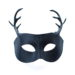 new black leather stag antler masquerade mask 2