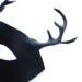 new black leather stag antler masquerade mask detail
